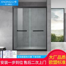 心晴不锈钢黑色淋浴房干湿分离浴室卫生间隔断玻璃门一字形