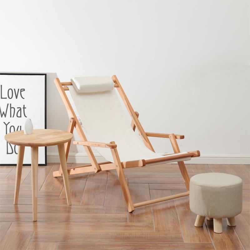 户外躺椅 实木沙滩椅