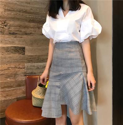 春季新款韩国复古chic风气质显瘦高腰不规则裙摆格子半身裙鱼尾裙