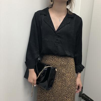 秋季新款韩国复古chic风气质显瘦百搭纯色单排扣长袖衬衫女上衣