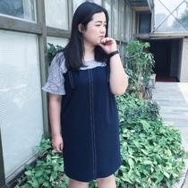 胖女孩套装裙 假两件套 宽松显瘦连衣裙X596大码仙裙200斤蕾丝裙
