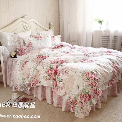 新款**秀色粉玫瑰田园风格荷叶边蕾丝纯棉四件套全棉床上用品评价好不好