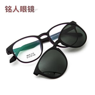 精益眼镜双层两用眼镜男女近视潮磁铁吸套镜偏光眼镜架彩膜太阳镜