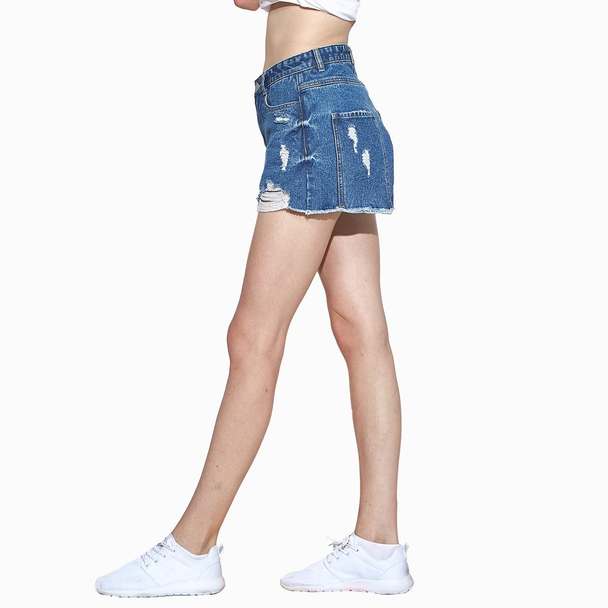 ilys拼接毛边磨破洞高腰牛仔短裤女夏季潮宽松热裤