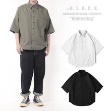Overize White Retro Shirt Men's Loose Cotton Oxford Spinning Five-Sleeve Short Sleeve Hundred-Set Japanese Shirt in Summer