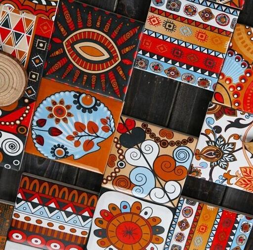 印第安唐卡花砖 餐厅背景墙楼梯侧面花片 咖啡厅卫生间花片100MM
