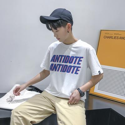 短袖t恤男韩版潮流学生圆领印花宽松大码夏季男士黑白纯色打底衫