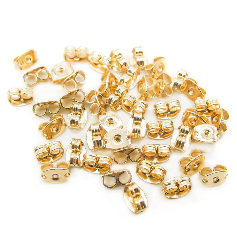 100pcs/lot Earring Back Gold metal Ear Plugging/blocked Earr