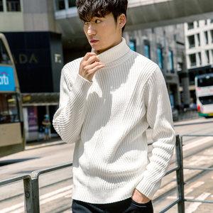 卡宾男装高领长袖休闲针织衫简约纯色套头上衣秋季韩版打底毛衣B