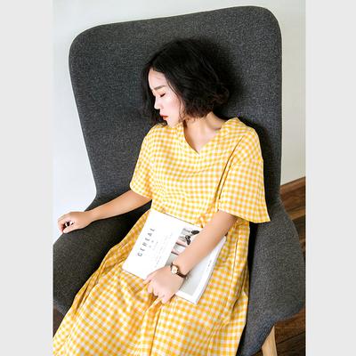 素旧安歌设计感宽松休闲长裙 文艺格子套头A型V领连衣裙 夏季新款