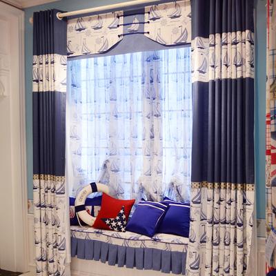 布居艺阁 蓝色地中海窗帘布男孩儿童房卡通帆船 定制卧室飘窗纱帘网店网址