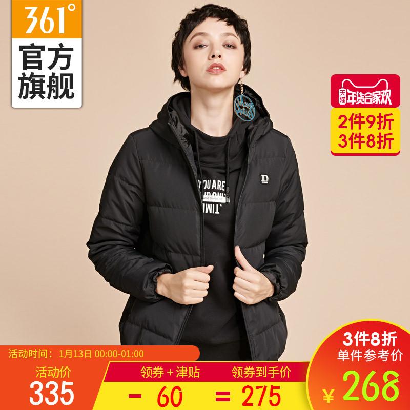 361度女装2018冬季新款短款羽绒服361冬季连帽休闲运动外套女