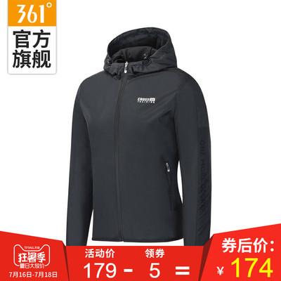 361度男装2018春秋季新款连帽单夹克361透气运动外套男