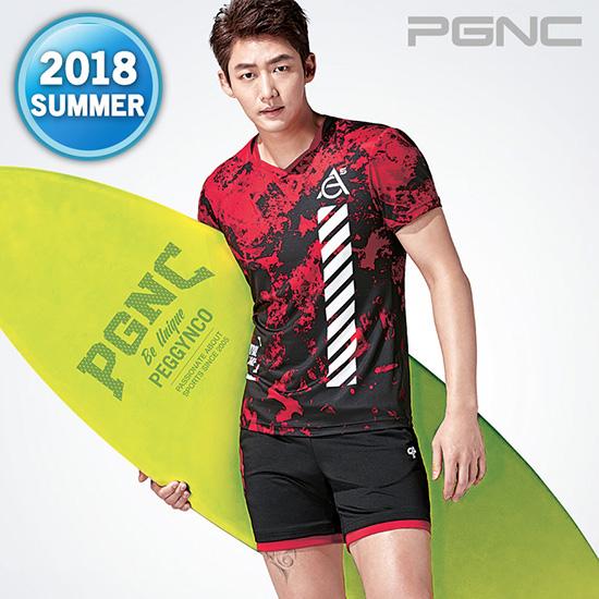 2018热夏新款PGNC羽毛球服PEGGY男子佩极酷速干透气短袖套装正品