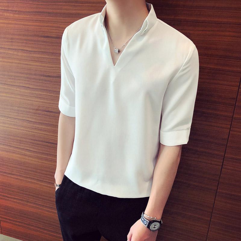 休闲套头白衬衫