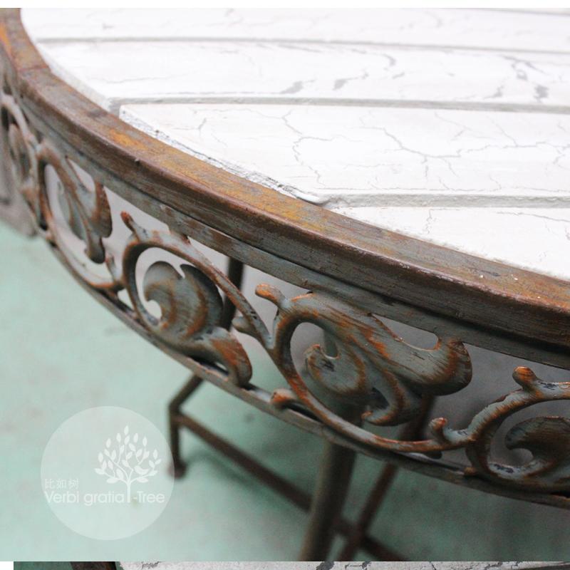 比如树│做旧铁艺木制复古阳台桌圆桌花园家居软装 橱窗 美式乡村
