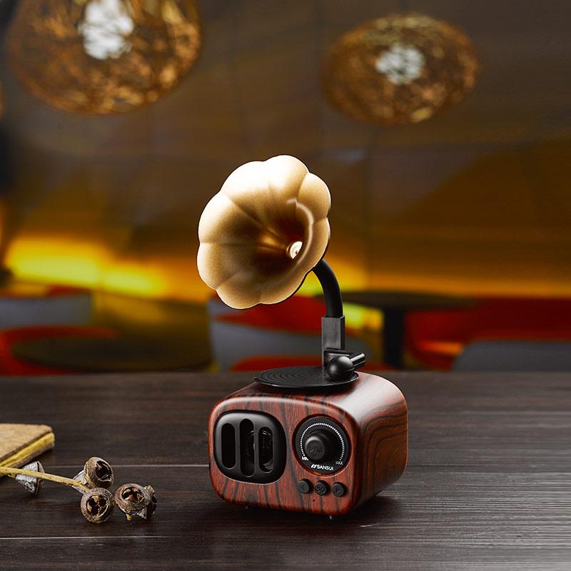 Sansui/山水T31蓝牙音箱大音量小型迷你留声机便携式复古可爱小音响手机电脑无线插卡低音炮收音机播放器