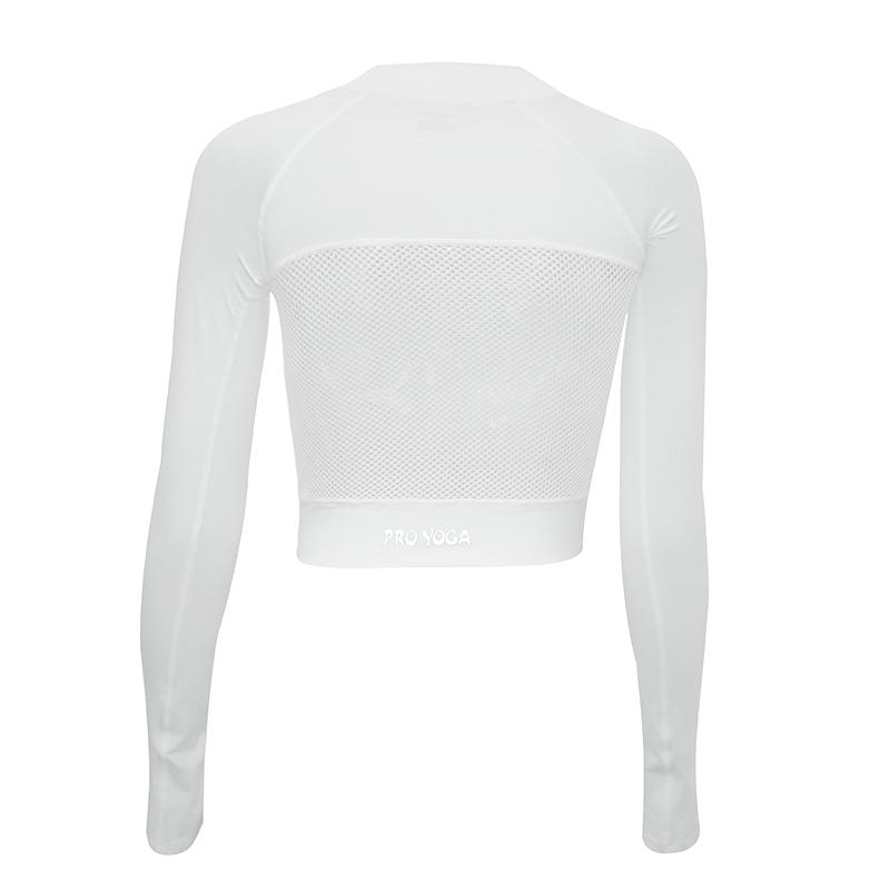 dcw运动上衣女露脐镂空美背紧身速干衣舞蹈健身跑步瑜伽服长袖t恤