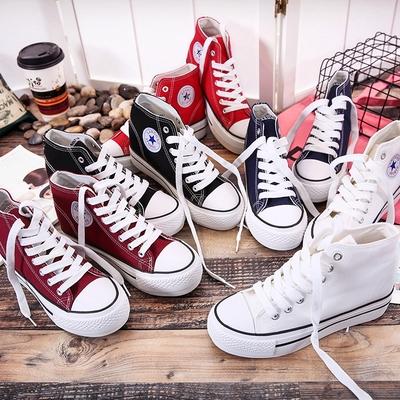 2017新款女士布鞋高帮帆布鞋女内增高韩版潮厚底学生鞋休闲鞋板鞋