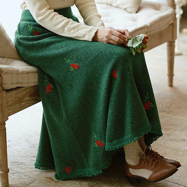 毛线流苏半身裙