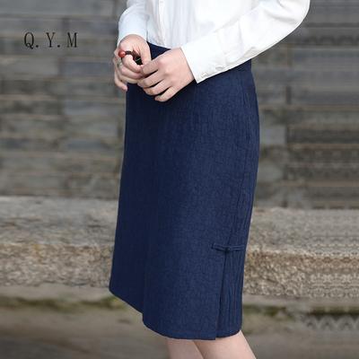 显瘦藏蓝 新款轻中式提花棉麻半身裙修身温婉包臀裙复古盘扣中裙