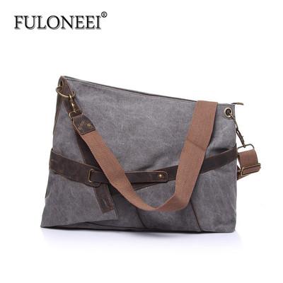 fuloneei单肩斜跨帆布包配疯马牛皮包休闲包时尚大容量男女款式包