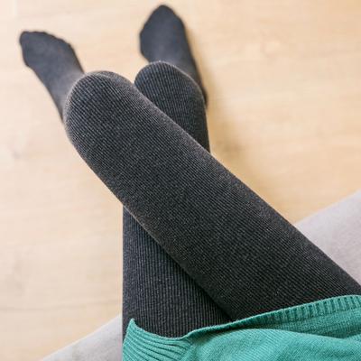 秋冬加厚打底裤女棉高腰大码外穿哑光显瘦竖条纹加绒连袜裤保暖裤