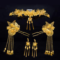 2018 Bridal Costume Headwear Set Golden Retro Phoenix Crown Comb Hairpin Chinese Wedding Show Wo Clothing Accessories