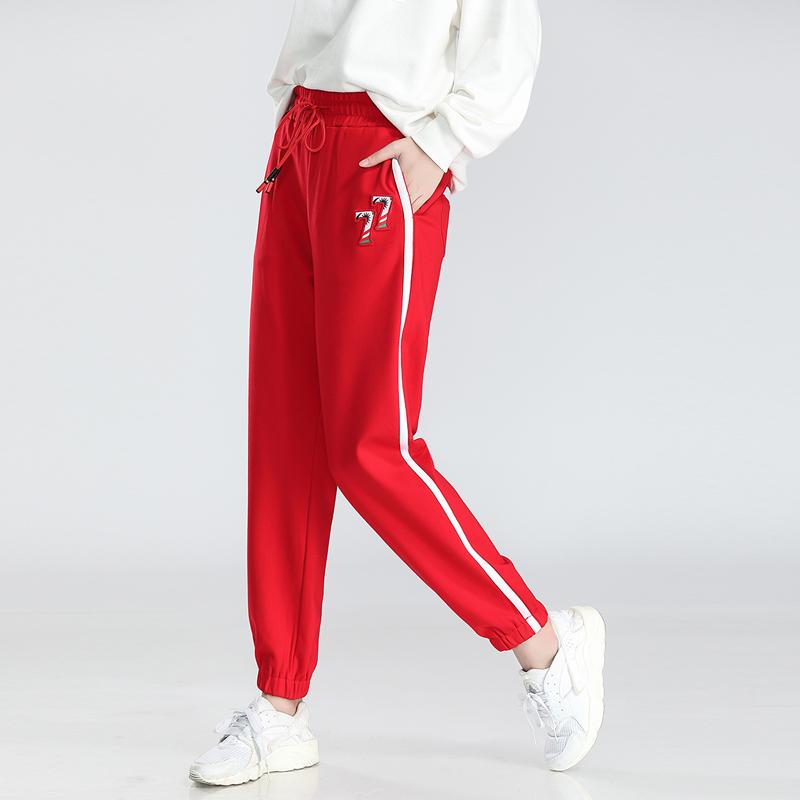 红色小脚裤女
