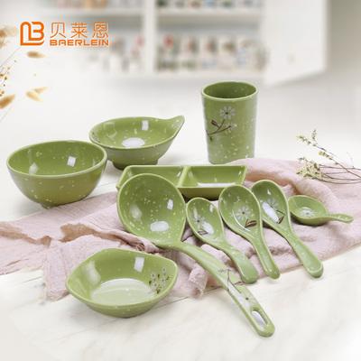 仿瓷餐具碗盘套装汤匙小碗味碟水杯勺子商用家用饭碗火锅调味碟子