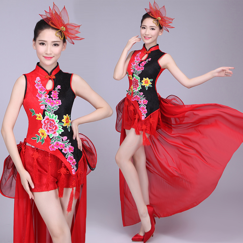 Drumming Costume Costume Waist Drum Team Costume New Band Chinese Style Modern Dance Cheongsam