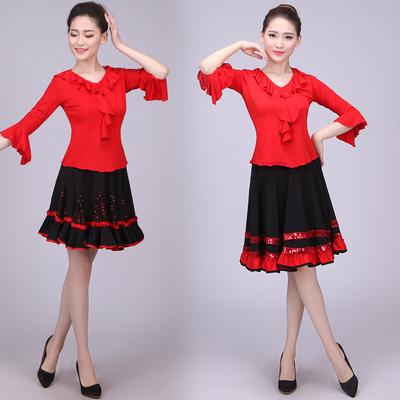 现代舞演出服女成人2018新款民族舞蹈服装扇子舞广场舞连衣裙套装