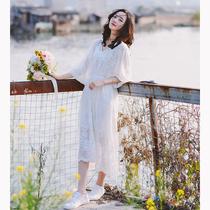 [初见]夏季仙女初恋裙复古文艺刺绣宽松海边度假雪纺旅拍连衣裙子