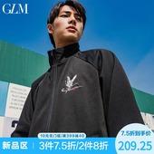 夹克男春季新品 韩版 仙鹤刺绣夹克外套黑色男士 夹克衫 GLM男装