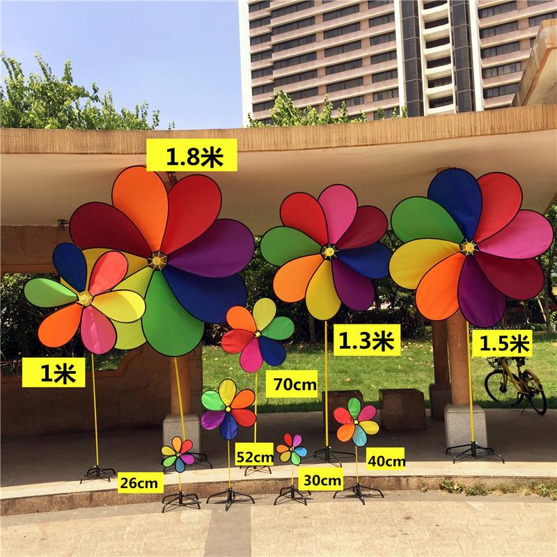 新鸿布艺风车多尺寸8彩6彩风车户外休闲装饰摆设风车传统玩具风车