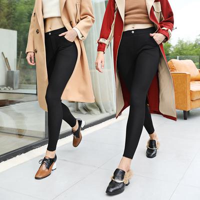 加绒加厚打底裤女外穿2018冬季新款保暖修身高腰弹力显瘦小脚长裤