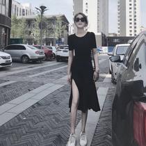 抖音同款春夏款显瘦弹性中长款莫代尔短袖开叉性感黑色连衣裙女潮