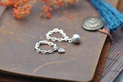 泰国进口纯银定做软链戒指 手工银饰软链吊坠戒指 银珠心形戒指