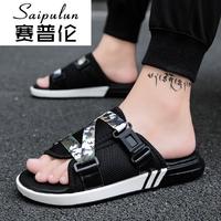 赛普伦夏季时尚韩版一字拖舒适罗马男鞋夏天个性可调节搭扣迷彩露