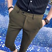 2018夏季发型师薄款九分裤男士韩版潮流休闲小脚裤修身9分小西裤