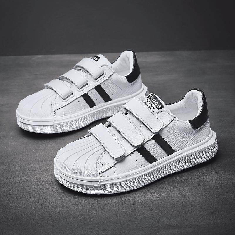 儿童板鞋2019夏季新款女童透气男童小白鞋中大童软底皮面白色童鞋