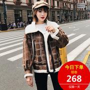 小棉袄女2018新款冬季韩版短款宽松加厚棉服格子机车羊羔毛外套女
