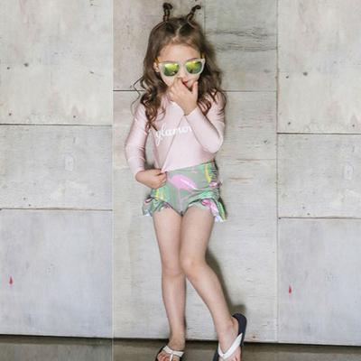 韩国儿童泳衣女孩长袖防晒分体女童可爱裙式公主宝宝亲子母女泳装