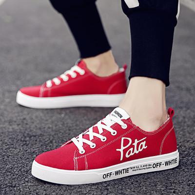红色潮鞋子夏季韩版潮流透气帆布鞋百搭个性休闲鞋学生英伦风板鞋