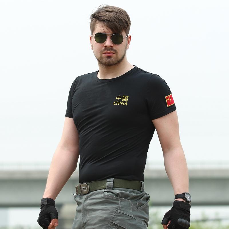 刺绣款中国特种兵国旗t恤男士宽松军装短袖迷彩服体恤耐磨体能服