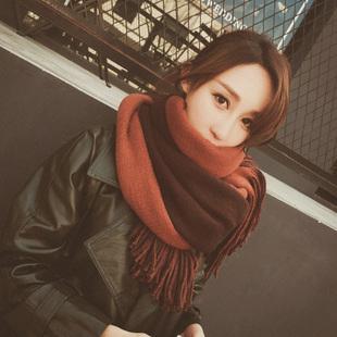 新款韩版围巾女秋冬季加厚学生保暖披肩百搭双面针织毛线围脖两用