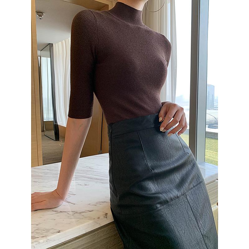 针织衫女秋2019新款半高领套头五分袖修身显瘦T恤打底衫半袖上衣