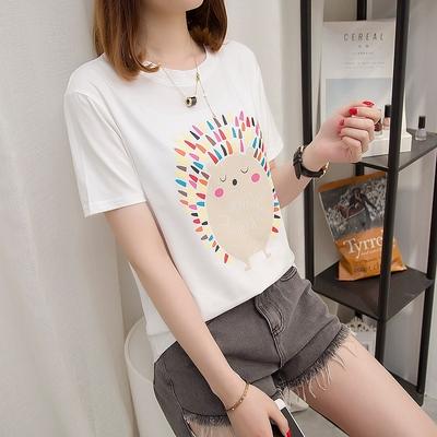 2018夏季韩版宽松胖mm纯棉短袖白色T恤女装加大码200斤半袖打底衫