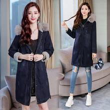 牛仔外套女2018韩版冬新款中长款毛领加厚加绒羊羔毛时尚牛仔棉衣