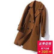 秋新款双面羊绒大衣女中长款双排扣纯手工大码加厚双面呢毛呢外套